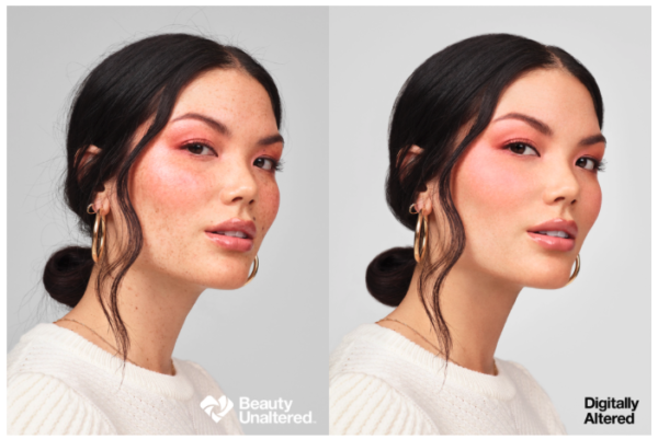 Side by side images of a model unretouched and photoshopped.