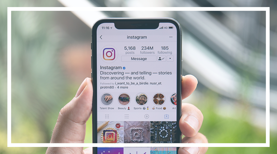 Instagram on a mobile phone
